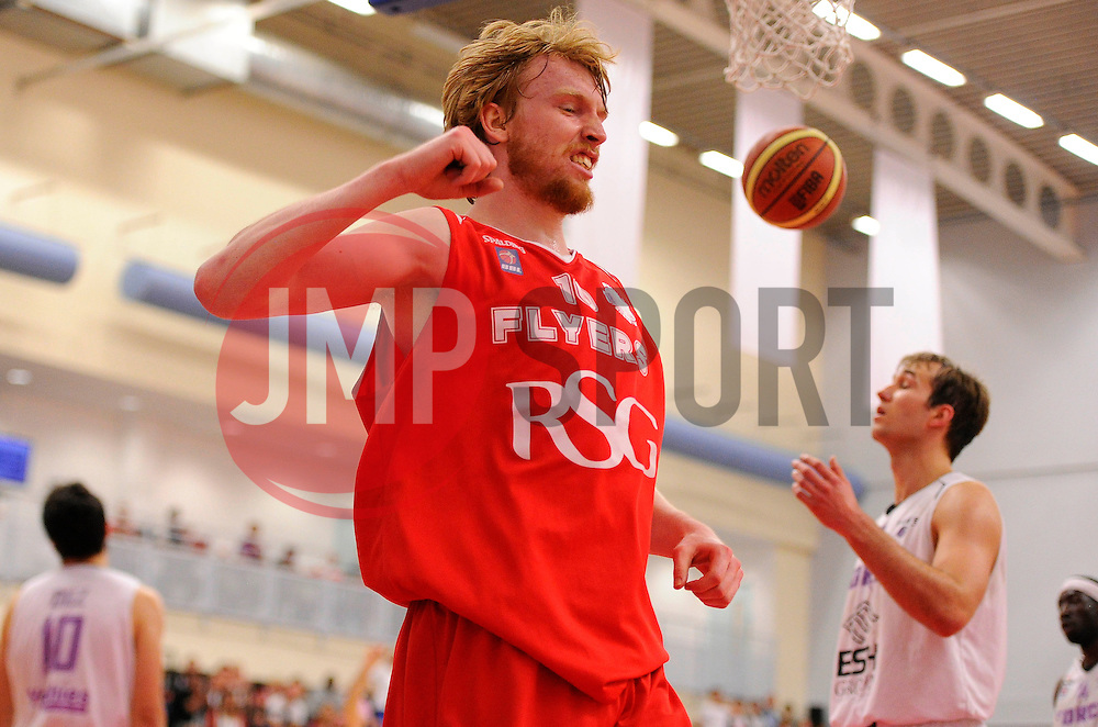 Bristol Flyers' Mathias Seilund celebrates scoring a basket  - Photo mandatory by-line: Joe Meredith/JMP - Mobile: 07966 386802 - 18/04/2015 - SPORT - Basketball - Bristol - SGS Wise Campus - Bristol Flyers v Leeds Force - British Basketball League