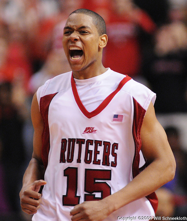 Mar 7, 2009; Piscataway, NJ, USA; Rutgers forward J.R. Inman (15) celebrates after Rutgers defeats South Florida, 45-42, on senior day at the Louis Brown Athletic Center.