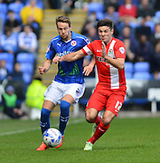 Reading's Chris Gunter and Blackburn Rovers Ben Marshall during the Sky Bet Championship match between Reading and Blackburn Rovers at the Madejski Stadium, Reading, England on 11 April 2015. Photo by Mark Davies.