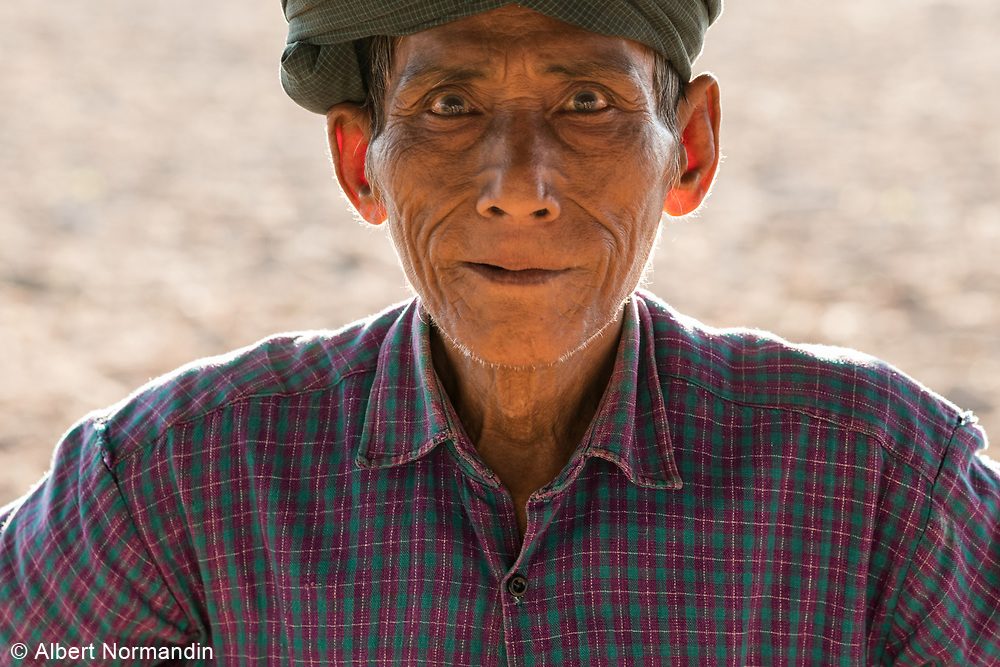 Peanut farmer portrait, harvest time, Bagan, Myanmar