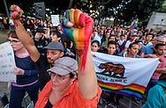 6月13日,在美国洛杉矶市政大楼外,民众参加悼念活动。当日,美国洛杉矶举行烛光守夜活动,数千民众参加悼念周日发生在美国佛罗里达州奥兰多市一家夜总会的枪击事件遇难者。新华社发 (赵汉荣摄)<br /> Several thousand people attend a candlelight vigil at Los Angeles City Hall for the victims of Sunday's Orlando nightclub shooting massacre, in Los Angeles, California, the United States, on Monday, June 13, 2016. (Xinhua/Zhao Hanrong)(Photo by Ringo Chiu/PHOTOFORMULA.com)<br /> <br /> Usage Notes: This content is intended for editorial use only. For other uses, additional clearances may be required.