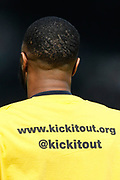 Manchester City midfielder Raheem Sterling (7) warming up wearing a Kick It Out anti-racism t-shirt, before the Premier League match between Fulham and Manchester City at Craven Cottage, London, England on 30 March 2019.