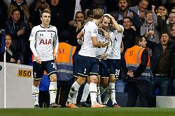 Roberto Soldado of Tottenham Hotspur celebrates with Ryan Mason after scoring to make it 2-1 - Photo mandatory by-line: Rogan Thomson/JMP - 07966 386802 - 30/11/2014 - SPORT - FOOTBALL - London, England - White Hart Lane - Tottenham Hotspur v Everton - Barclays Premier League.