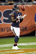 Chicago Bears wide receiver and kick returner Deonte Thompson (14) catches a kick off in the end zone during the 2017 NFL week 5 regular season football game against the against the Minnesota Vikings, Monday, Oct. 9, 2017 in Chicago. The Vikings won the game 20-17. (©Paul Anthony Spinelli)