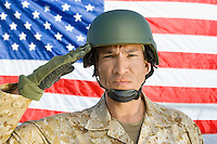 Soldier saluting in front of United States flag (portrait)