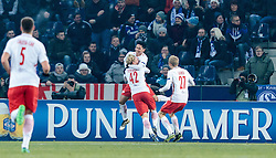 08.12.2016, Red Bull Arena, Salzburg, AUT, UEFA EL, FC Red Bull Salzburg vs Schalke 04, Gruppe I, im Bild Torjubel Salzburg nach dem 1:0 durch Xaver Schlager (FC Red Bull Salzburg) // Goal Celebration Salzburg after Xaver Schlager (FC Red Bull Salzburg) scores during the UEFA Europa League group I match between FC Red Bull Salzburg and Schalke 04 at the Red Bull Arena in Salzburg, Austria on 2016/12/08. EXPA Pictures © 2016, PhotoCredit: EXPA/ JFK