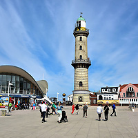 Lighthouse and Teapot Landmarks in Warnem&uuml;nde, Germany <br />