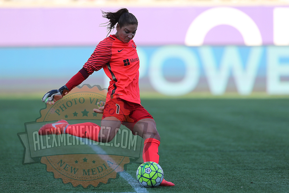 Seattle Reign FC goalkeeper Hope Solo (1) kicks the ball during a NWSL soccer match at Camping World Stadium on May 8, 2016 in Orlando, Florida. (Alex Menendez via AP)