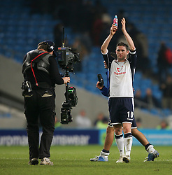 MANCHESTER, ENGLAND - WEDNESDAY, JANUARY 4th, 2006: Tottenham Hotspur's Robbie Keane celebrates his side's 2-0 victory over Manchester City during the Premiership match at the City of Manchester Stadium. (Pic by David Rawcliffe/Propaganda)