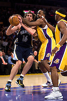 27 March 2007: Center Pau Gasol of the Memphis Grizzlies drives to the basket while Ronny Turiaf of the Los Angeles Lakers blocks his shot during the first half of the Grizzlies 88-86 victory over the Lakers at the STAPLES Center in Los Angeles, CA.