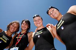 Ursa Bezan, Katja Hajdinjak, Teja Pesl and Tamara Miler at swimming competition of EYOF 2007 (European Youth Olympic Festival) in Belgrade, 21. - 28. July 2007,  Tasmajdan pool, Belgrade, Serbia. (Photo by Vid Ponikvar / Sportida)