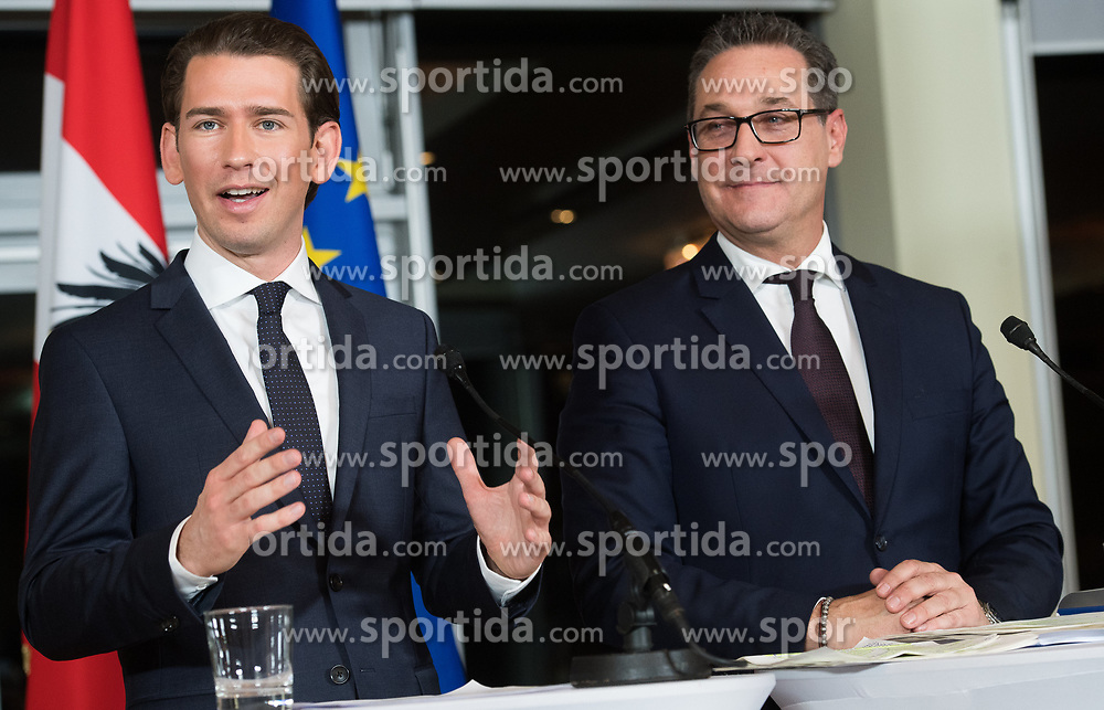 16.12.2017, Kahlenberg, Wien, AUT, Präsentation der neuen türkis-blauen Koalition, im Bild ÖVP-Chef Sebastian Kurz und FPÖ-Chef Heinz-Christian Strache // Head of the Austrian Peoples Party (OeVP) Sebastian Kurz and Head of the parliamentary group FPOe Heinz Christian Strache during presentation of the new coalition between the Austrian Peoples Party and Austrian Freedom Party in Vienna, Austria on 2017/12/16, EXPA Pictures © 2017, PhotoCredit: EXPA/ Michael Gruber
