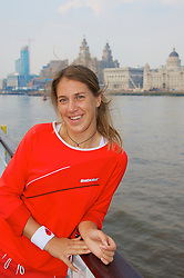 Liverpool, England - Sunday, June 10, 2007: Olga Savchuk on the deck of the Royal Daffodil Mersey Ferry as she takes a cruise along Liverpool's famous River Mersey. The WTA tennis player is in the city for the Liverpool International Tennis Tournament which starts on Tuesday June 12th. For more information please visit www.liverpooltennis.co.uk. (Pic by David Rawcliffe/Propaganda)