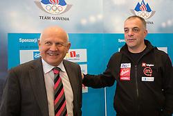 Janez Kocijancic and Matjaz Kopitar at press conference of Olympic committee and Hokejska zveza Slovenije prior to the Qualification for the Olympic games Sochi 2014, on February 1, 2013 in Ljubljana, Slovenia. (Photo By Matic Klansek Velej / Sportida.com)