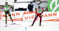 23.01.2011, Südtirol Arena, Antholz, ITA, IBU Biathlon Worldcup, Antholz, Mass Start Women, im Bild Zielsprint links Marie Laure Brunet (FRA) belegte Platz zwei und Siegerin Tora Berger (NOR) // Sprint to Finish left second Place Laure Brunet (FRA) , Tora Berger (NOR) wins the Race during IBU Biathlon World Cup in Antholz, Italy, EXPA Pictures © 2011, PhotoCredit: EXPA/ J. Feichter