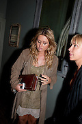 SARAH BARRAND; MEG MATTHEWS, MARK FAST party, PARADISE, KENSAL GREEN. London. 28 July 2011. <br /> <br />  , -DO NOT ARCHIVE-© Copyright Photograph by Dafydd Jones. 248 Clapham Rd. London SW9 0PZ. Tel 0207 820 0771. www.dafjones.com.