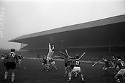 17/03/1965<br /> 03/17/1965<br /> 17 March 1965<br /> Railway Cup Hurling final  Munster v Leinster at Croke Park, Dublin. Ollie Walsh, Leinster keeper, fails to stop this one, but was clear by a Leinster back.