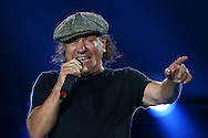 PERTH, AUSTRALIA - NOVEMBER 27: Brian Johnson of AC/DC performs during their 'Rock or Bust' World Tour at Domain Stadium on November 27, 2015 in Perth, Australia.  (Photo by Paul Kane/WireImage)