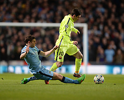 James Milner of Manchester City fails to tackle Lionel Messi of Barcelona - Photo mandatory by-line: Alex James/JMP - Mobile: 07966 386802 - 24/02/2015 - SPORT - Football - Manchester - Etihad Stadium - Manchester City v Barcelona - Champions League - Round of 16