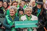 Mayor of London, Sadiq Khan, Grand Marshalls Gloria Hunniford & Imelda Staunton lead the London St Patrick's Day parade from Piccadilly to Trafalgar Square.