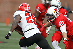08 November 2014: Alex Donnelly chases ball carrier Martin Ruiz (TB) during an NCAA Missouri Valley Football Conference game between the Youngstown State Penguins and the Illinois State Redbirds at Hancock Stadium in Normal Illinois
