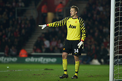 SOUTHAMPTON, ENGLAND - Saturday, January 29, 2011: Manchester United's Anders Lindegaard during the FA Cup 4th Round match at St. Mary's Stadium. (Photo by Gareth Davies/Propaganda)