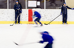 Nik Zupancic, head coach, Ales Burnik during practice session of Slovenian Ice Hockey National Team at training camp, on February 8th, 2016 in Ledna dvorana, Bled, Slovenia. Photo by Vid Ponikvar / Sportida