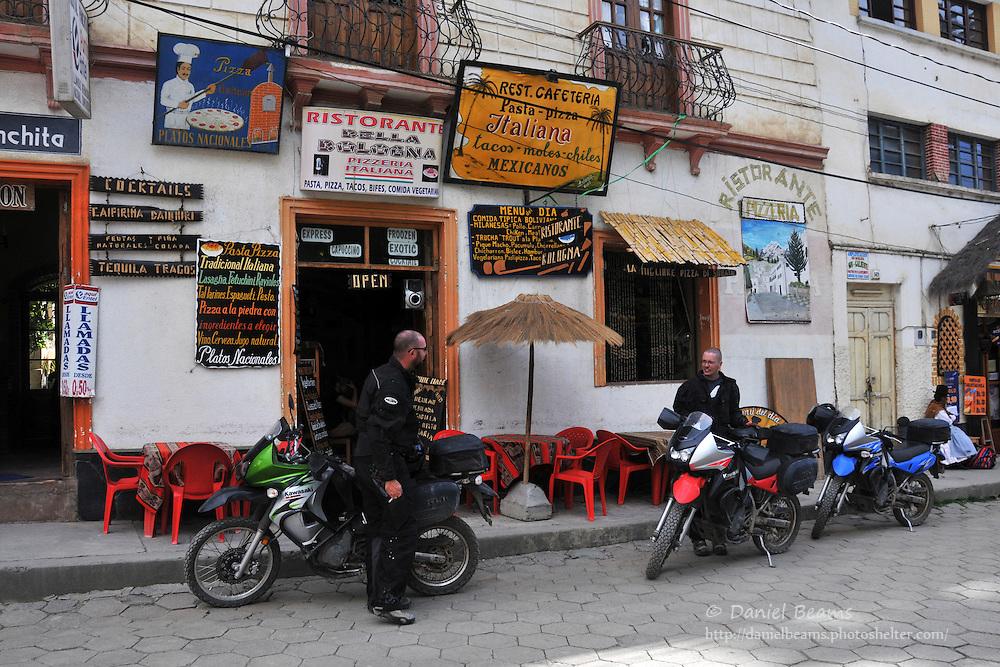 Motorcyclists rest in Sorata, Bolivia