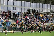 Spillere fra Kronborg Knights ved indvielsen af Helsingør Kommunes nye stadion på Gl. Hellebækvej i Helsingør den 8. august 2019 (Foto: Claus Birch)