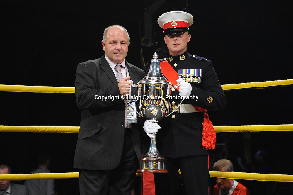 Military and official showing Prizefighter International trophy at the start of the event at Prizefighter International on Saturday 7th May 2011. Prizefighter / Matchroom. Photo credit © Leigh Dawney. Alexandra Palace, London.