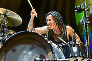 "Photos of the band Matt & Kim performing live on stage for the ""Delirium World Tour"" at Madison Square Garden, NYC on June 21, 2016. © Matthew Eisman/ Getty Images. All Rights Reserved"
