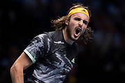 Stefanos Tsitsipas of Greece reacts during the Nitto ATP finals at the O2 Arena, London, United Kingdom on 17 November 2019.