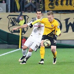 03.03.2015, Stadion Dresden, Dresden, GER, DFB Pokal, SG Dynamo Dresden vs Borussia Dortmund, Achtelfinale, im Bild Zweikampf zwischen Henrikh Mkhitaryan (#10, Borussia Dortmund) und Marvin Stefaniak (#34, Dynamo Dresden) // SPO during German DFB Pokal last sixteen match between SG Dynamo Dresden and Borussia Dortmund at the Stadion Dresden in Dresden, Germany on 2015/03/03. EXPA Pictures &copy; 2015, PhotoCredit: EXPA/ Eibner-Pressefoto/ Hundt<br /> <br /> *****ATTENTION - OUT of GER*****