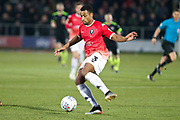 Salford City defender Ibou Touray during the EFL Sky Bet League 2 match between Salford City and Macclesfield Town at the Peninsula Stadium, Salford, United Kingdom on 23 November 2019.