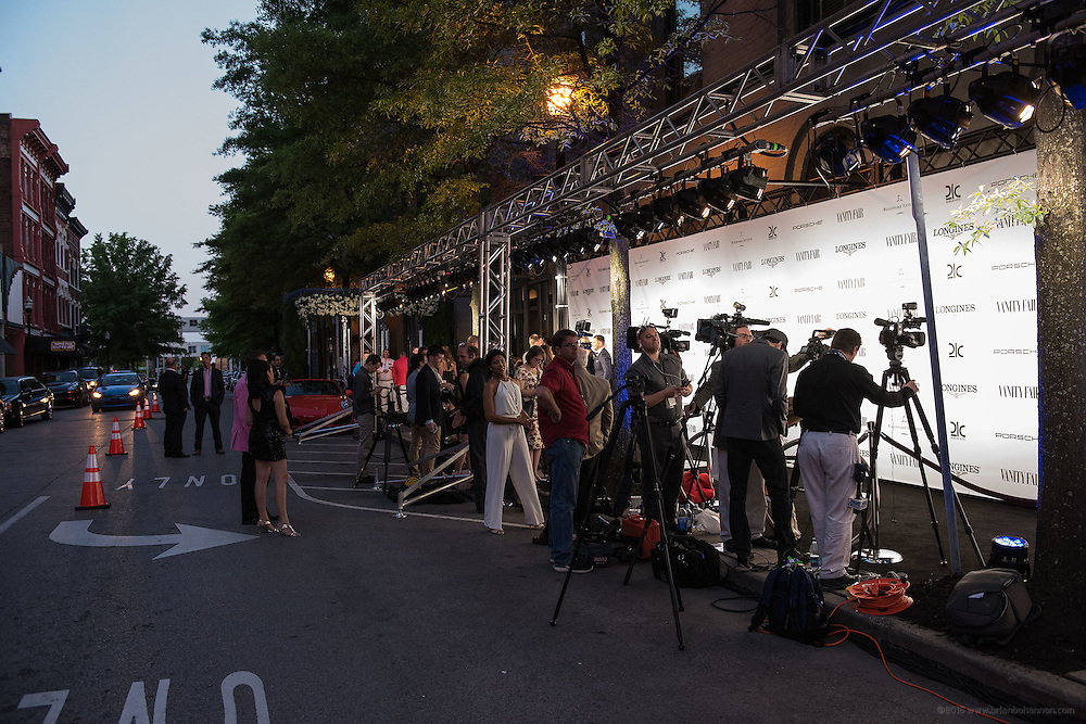 The scene at the black carpet at the Vanity Fair Derby party at 21c Museum Hotel. May 6, 2016