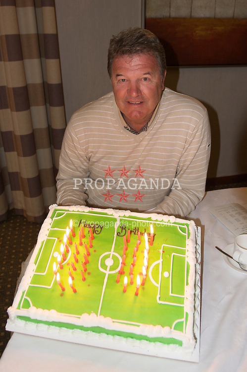 CARDIFF, WALES - Monday, March 23, 2009: Wales' manager John Toshack celebrates his 60th birthday as he prepares his squad for the 2010 FIFA World Cup Qualifying Group 4 match against Finland. (Pic by David Rawcliffe/Propaganda)