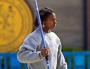South Carolina State senior Brandi Jefferson prior to the start of the Javelin Throw in the Women's Heptathlon in the 2011 MEAC Track and Field Championship held at North Carolina A&T in Greensboro, North Carolina.  (Photo by Mark W. Sutton)