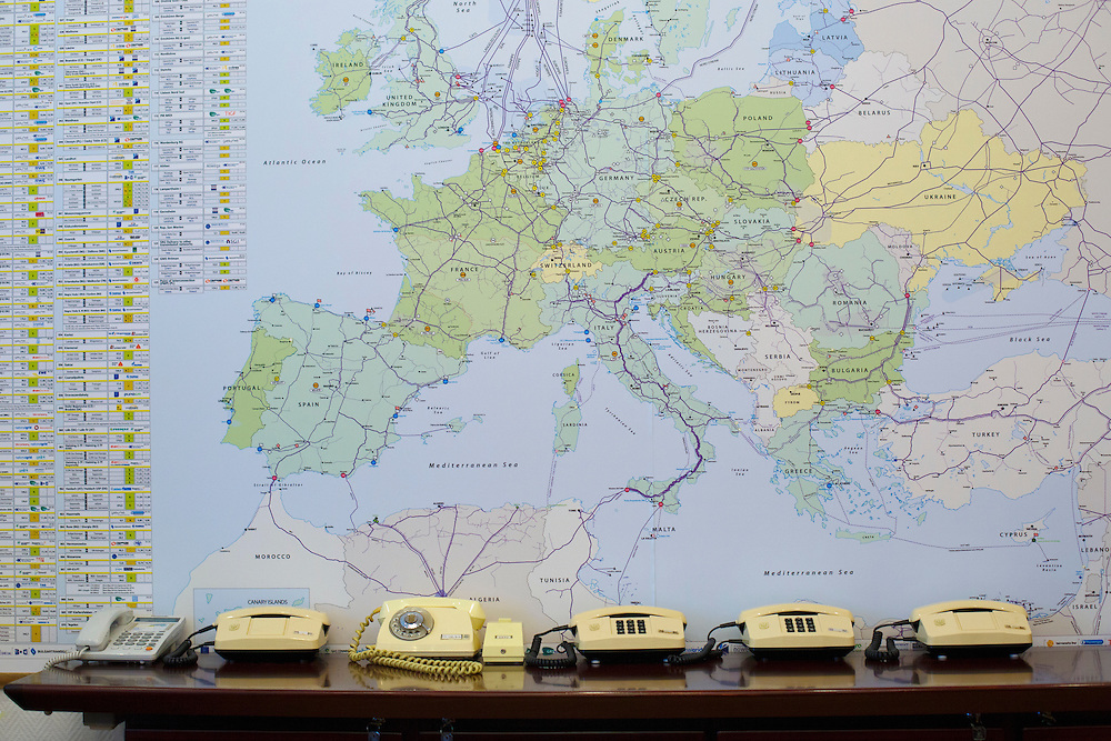 A series of phones is seen in the office of Andriy Kobolev, CEO and Chairman of Naftogaz, on May 31, 2015 in Kyiv, Ukraine.