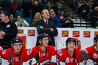 KAMLOOPS, CANADA - NOVEMBER 5: Connor Dewar #43, Dylan Cozens #25 and Parker Kelly #28  of Team WHL sit on the bench in front of head coach Tiim Hunter against the Team Russia on November 5, 2018 at Sandman Centre in Kamloops, British Columbia, Canada.  (Photo by Marissa Baecker/Shoot the Breeze)