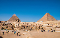 The ruin complex of Sphinx, pyramids and assorted ruins in Giza, Egypt.