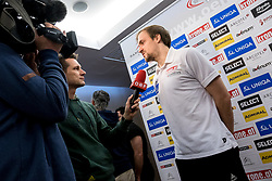 15.01.2018, Hotel Molindrio, Porec, CRO, EHF EM, Herren, Pressekonferenz Österreich, Gruppe B, im Bild Gerald Zeiner (AUT) bei einem Interview // during an Austrian Press Conference during the EHF men's Handball European Championship at the Hotel Molindrio in Porec, Croatia on 2018/01/15. EXPA Pictures © 2018, PhotoCredit: EXPA/ Sebastian Pucher