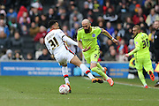 Brighton defender, Bruno Saltor (2) goes past Milton Keynes Dons midfielder Josh Murphy (31) during the Sky Bet Championship match between Milton Keynes Dons and Brighton and Hove Albion at stadium:mk, Milton Keynes, England on 19 March 2016.
