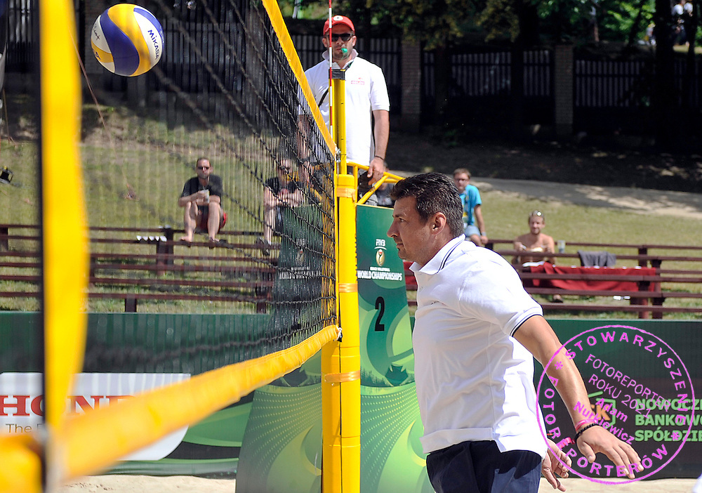 Vladimir Grbic - famous former volleyball player and olympic gold medalist from Sydney 2000 while training session match of Special Olympics Poland during Day 7 of the FIVB World Championships on July 7, 2013 in Stare Jablonki, Poland. <br /> <br /> Poland, Stare Jablonki, July 07, 2013<br /> <br /> Picture also available in RAW (NEF) or TIFF format on special request.<br /> <br /> For editorial use only. Any commercial or promotional use requires permission.<br /> <br /> Mandatory credit:<br /> Photo by &copy; Adam Nurkiewicz / Mediasport