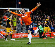 Luke Wilkinson of Luton Town celebrates scoring the opening goal against Newport County during the Sky Bet League 2 match at Kenilworth Road, Luton<br /> Picture by David Horn/Focus Images Ltd +44 7545 970036<br /> 20/12/2014