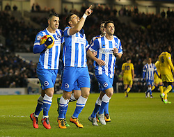 Tomer Hemed ( 2nd L ) of Brighton and Hove Albion celebrates after he scores from the penalty spot to make it 1-0 - Mandatory byline: Paul Terry/JMP - 29/02/2016 - FOOTBALL - Falmer Stadium - Brighton, England - Brighton v Leeds United - Sky Bet Championship