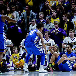 Jan 3, 2018; Baton Rouge, LA, USA; Kentucky Wildcats forward PJ Washington (right) reacts after scoring a basket against the LSU Tigers during the second half at the Pete Maravich Assembly Center. Kentucky defeated LSU 74-71.  Mandatory Credit: Derick E. Hingle-USA TODAY Sports