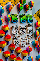 Hot air balloon and Route 66 refrigerator magnets in a shop at Balloon FIesta Park during the Albuquerque International Balloon Fiesta, Albuquerque, New Mexico USA.