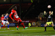 Moses Odubajo of Leyton Orient goes close to scoring during the Sky Bet League 1 match at the Matchroom Stadium, London<br /> Picture by David Horn/Focus Images Ltd +44 7545 970036<br /> 25/03/2014