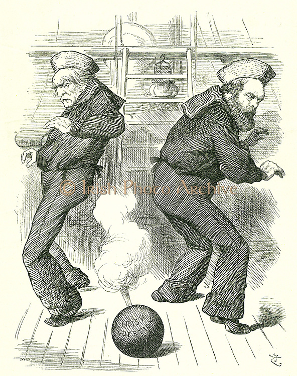 The Live Shell':   Salisbury's (right) administration resigned in January to be followed in February by the third Gladstone (left) administration. Neither politician relished dealing with the problems of Ireland.  John Tenniel cartoon from 'Punch', London, 30 January 1886.