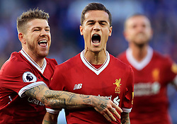 Philippe Coutinho of Liverpool celebrates with Alberto Moreno of Liverpool after scoring from a free kick - Mandatory by-line: Paul Roberts/JMP - 23/09/2017 - FOOTBALL - King Power Stadium - Leicester, England - Leicester City v Liverpool - Premier League